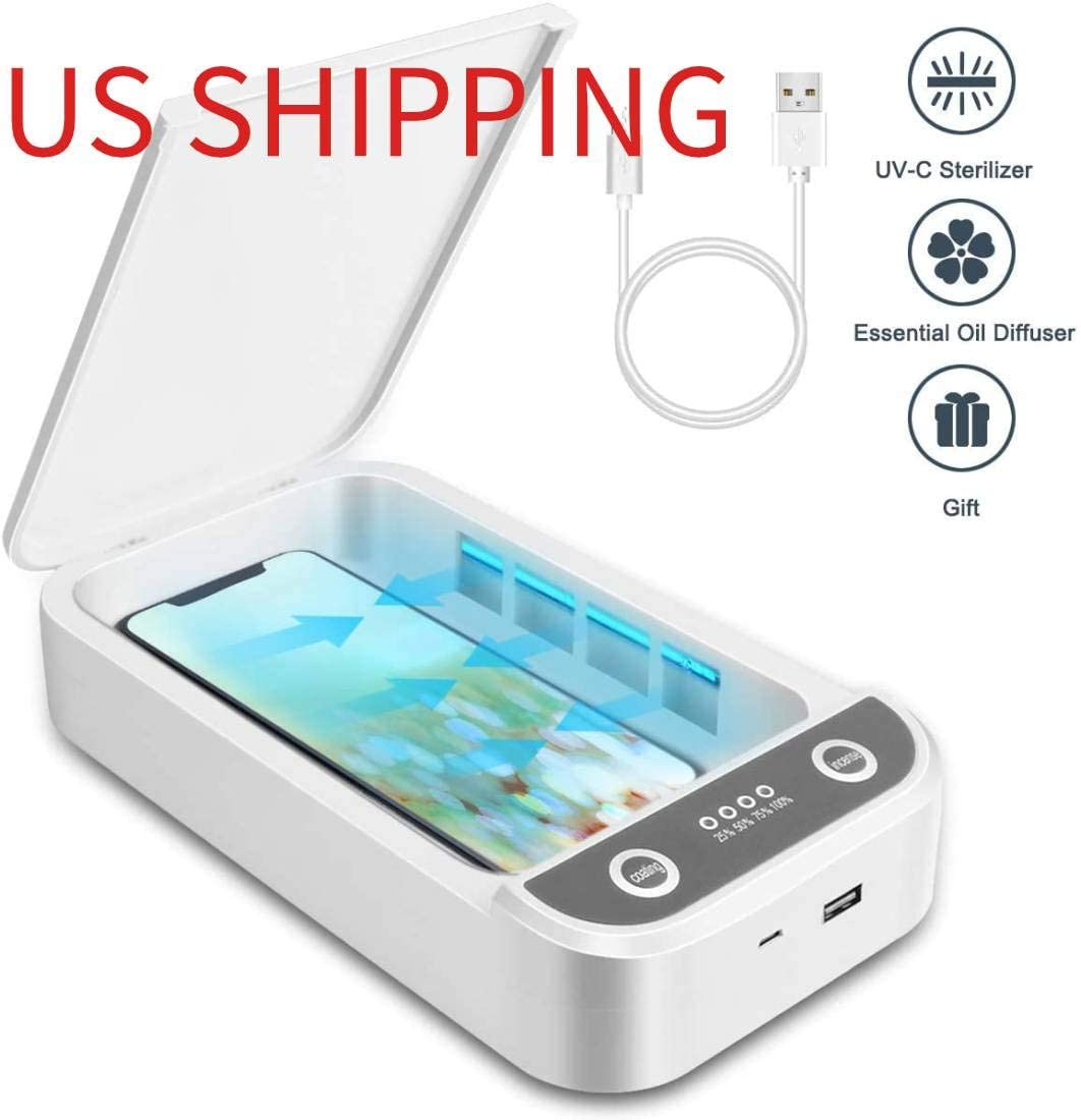 UV Smartphone Sanitizer Wireless Charger Watch Jewelry Cleaner Portable Disinfector Box UVC Light Ozone Aromatherapy Sterilizer