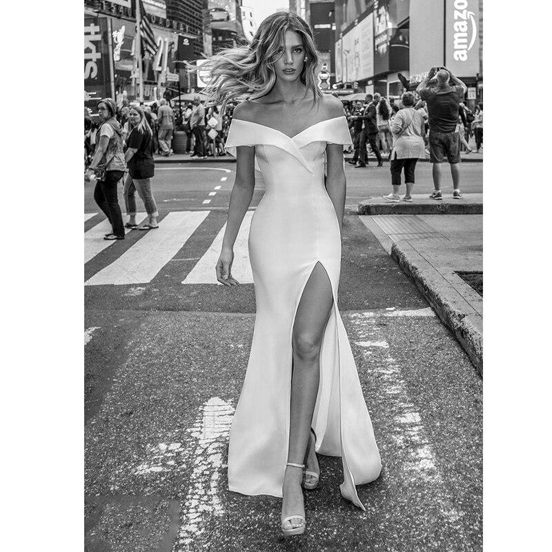 Verngo Mermaid Wedding Dress Sexy Side Slit Gowns Elegant Bride Simple Vestido De Casamento
