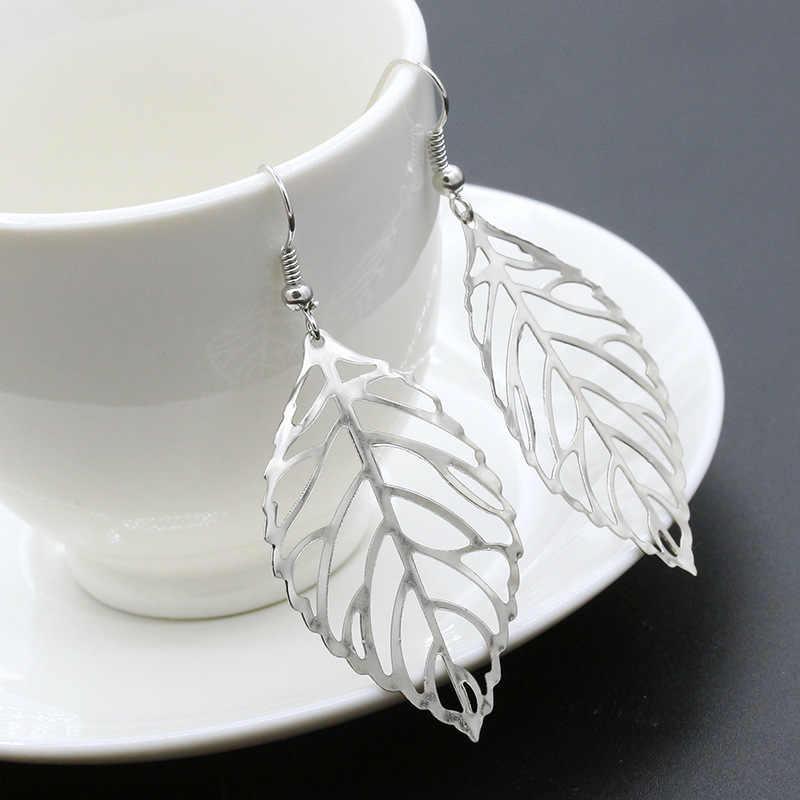 유럽과 미국의 대외 무역 패션 간단한 센 부서 금속 잎 귀걸이 펜던트 새로운 잎 귀걸이 여성