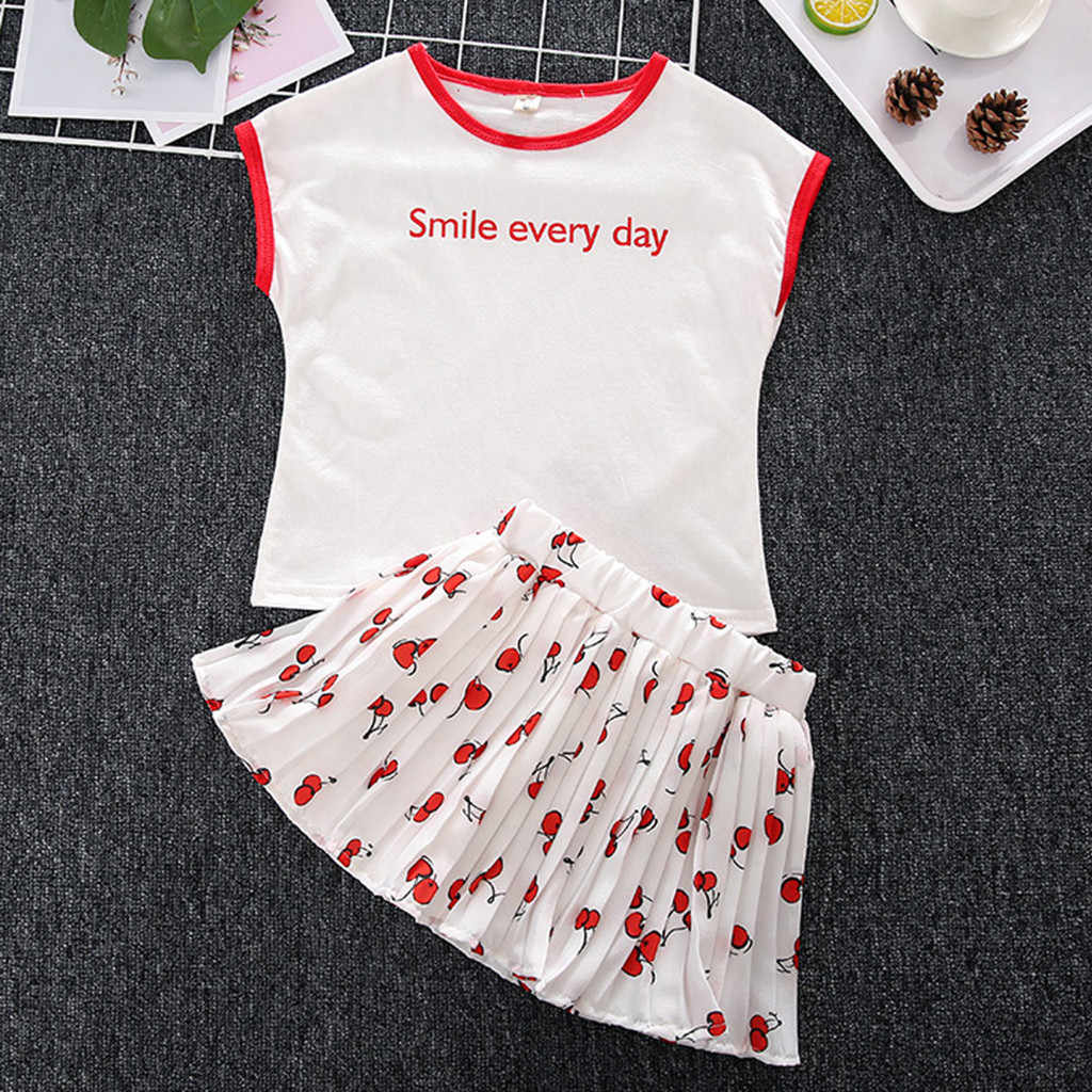 2PCS Set Toddler Kids Baby Girls Outfits Clothes Letter T-Shirt+Cherry Pleated Skirt Set