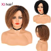 Brazylijskie peruki z włosami kręconymi typu Kinky Remy peruki z ludzkimi włosami Afro perwersyjne Curl peruka dla czarnych kobiet Glueless brazylijski kręcone ludzkie włosy pełna peruka tanie tanio XQ HAIR CN (pochodzenie) Remy włosy Jerry curl Brazylijski włosy Średnia wielkość