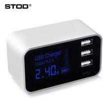STOD ミニ USB 充電器 4 ポート 20 ワット LED ディスプレイタイプ C 充電 Iphone サムスン Huawei 社ネクサス Mi Oneplus スイッチ電源アダプタ