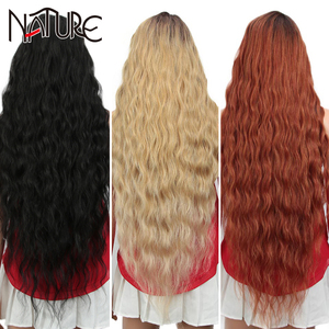 Nature Wig Cosplay Lace front Wig Long Curly Fake Hair 42Inch High Temperature Fiber Blonde Ombre Synthetic Wigs For Black Women
