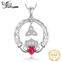 Celtic Knot Claddagh Created Ruby Pendant Necklace 925 Sterling Silver Gemstones Choker Statement Necklace Women Without Chain
