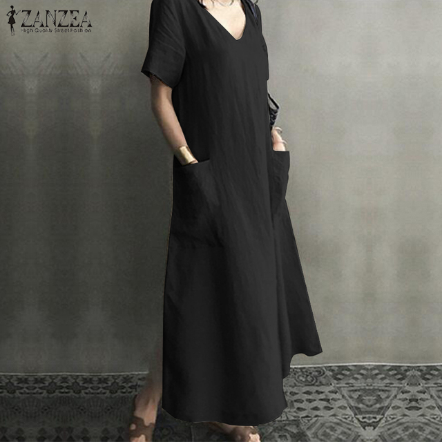 ZANZEA 2021 Women Long Maxi Summer Dress Casual Cotton Linen  Ladies Big Pockets Beach Party Robe Femme Vestidos Plus Size 5XL 5