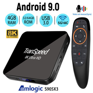 Transpeed Android 9.0 8K 4K TV BOX 4GB 64GB Youtube Netflix Bluetooth 4.1 1000M 2.4G and 5G wifi Amlogic S905X3 Set top TV BOX(China)