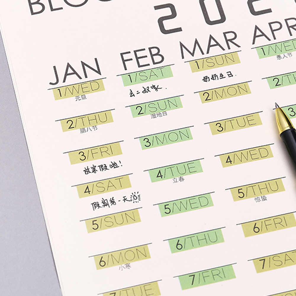 Планировщик на стену 2020, большой блок, планировщик, ежедневный план, бумажный календарь, Постер для офиса, школы, дома