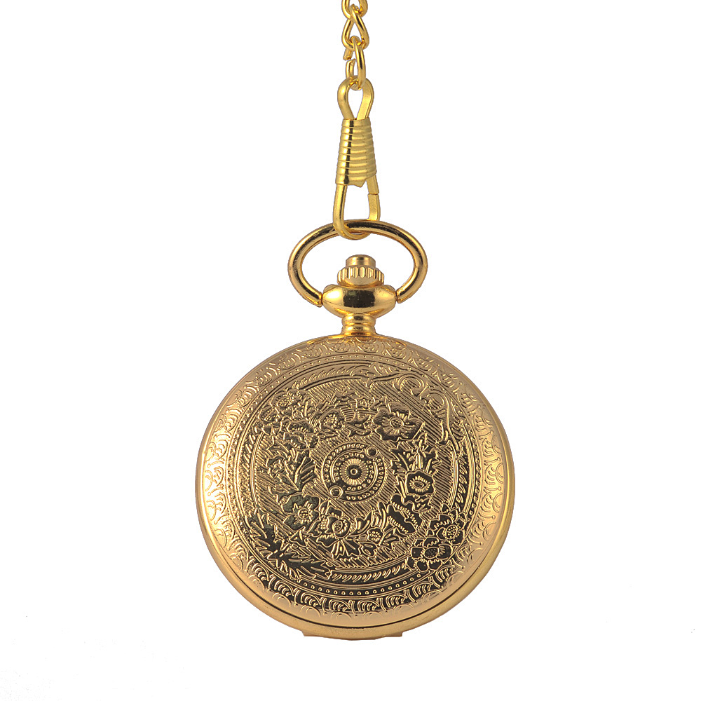 8849Fashion Luxury Gold Fashion Double Side Pattern Retro Quartz Pocket Watch Men And Women With Waist Chain