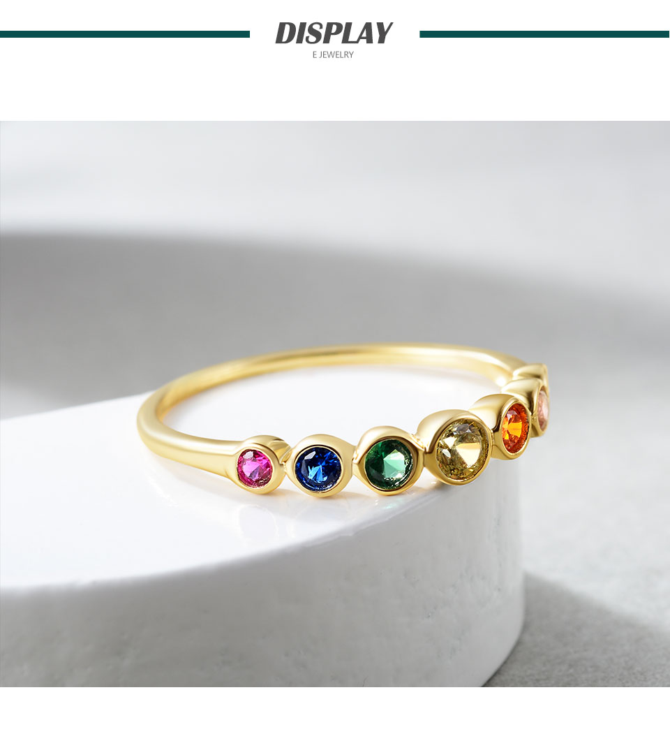 H654b9053151242b9bb08d2c276a38075f E 925 Sterling Silver Rainbow Gemstones Ring for Women 14K Gold Plated Silver Jewelry Rings Color Cubic Zirconia Wedding Rings