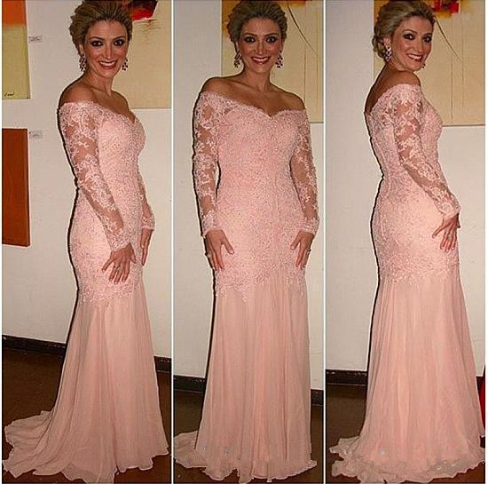 Off-the-shoulder Mother's Formal evening gown Lace Appliques vestido de madrinha Long Sleeves Sexy Mother of the Bride dresses