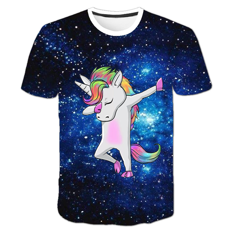 Baby Girls T-shirt 4 5 6 7 8 9 10 11 12 13 14 Years Unicorn Kids T Shirt Children Clothes Summer Unicorn T shirts Girl Tops Tee 11
