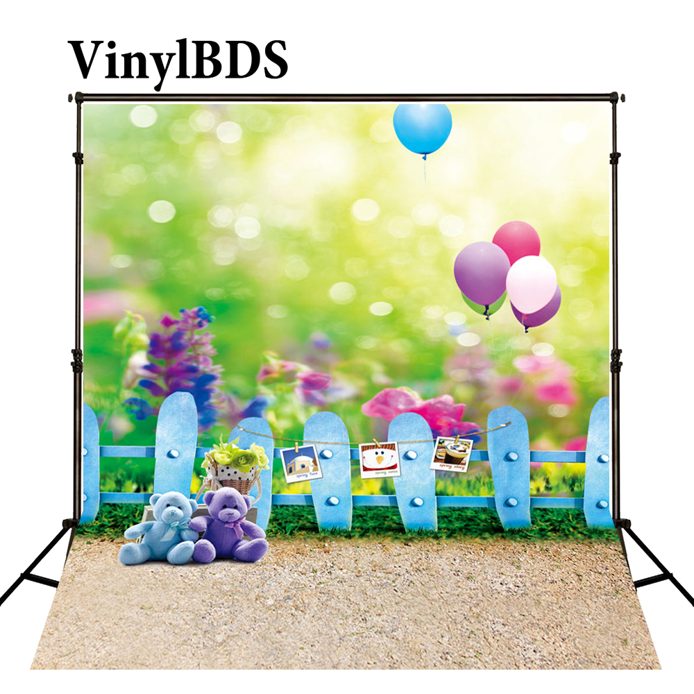 VinylBDS 5X7FT Newborn Bokeh Balloon Backgrounds Baby Blue Fence Backdrop Children Toy Bear Backdrops for Photo Studio|backgrounds for photo studio|photo background|background for photo - title=