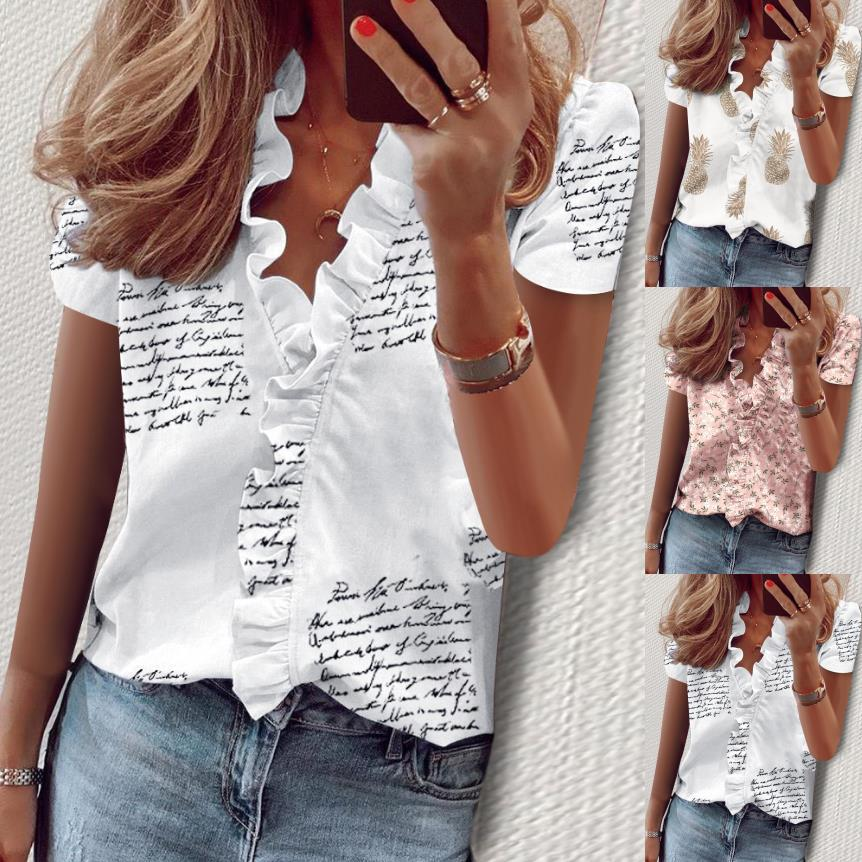 Fashion Short Sleeve Ruffles Blouse Women 2020 Summer Casual Office Print Woman Tops Plus Size 5XL Shirts Blusas Mujer