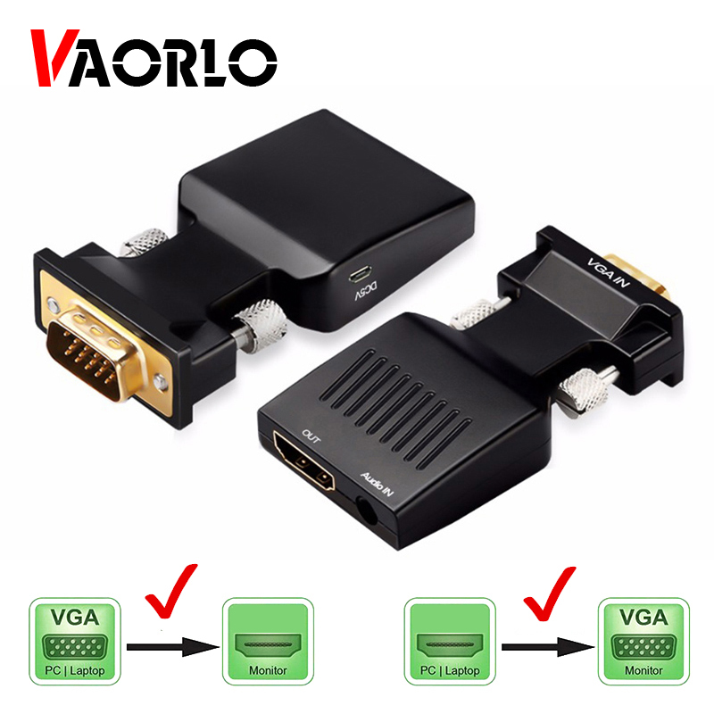 VGA to HDMI-compatible Converter Adapter 1080P VGA Adapter For PC Laptop to HDTV Projector Video Audio HDMI-compatible to VGA