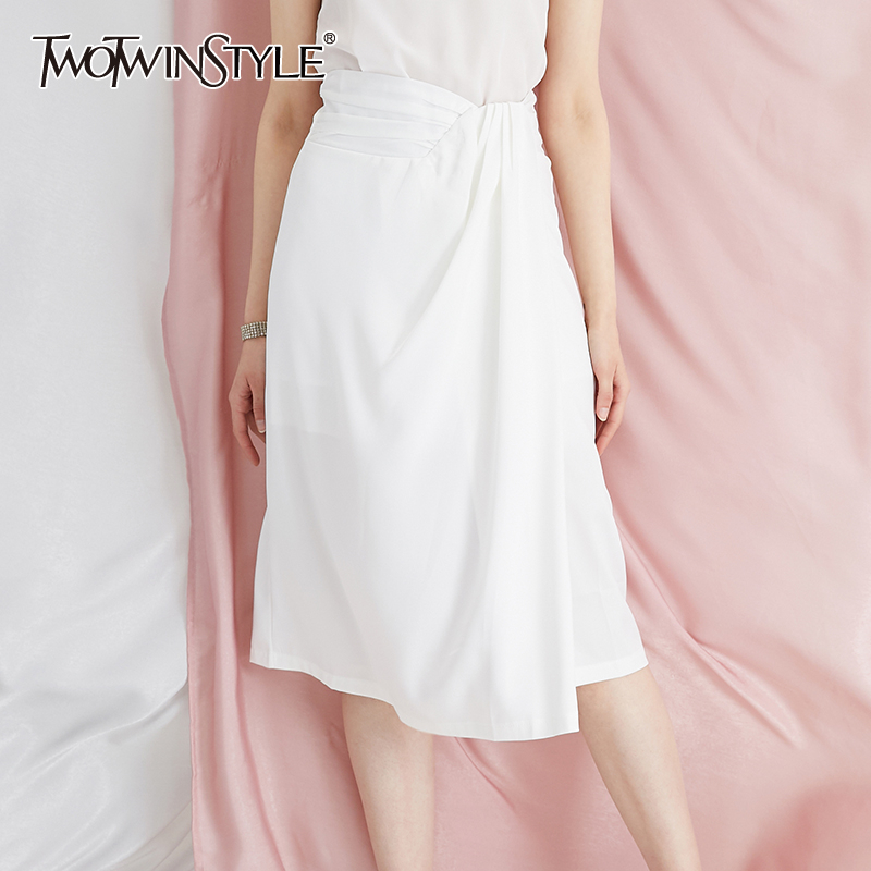 TWOTWINSTYLE Irregular Side Split Women's Skirt High Waist Asymmetrical Ruched Vintage Skirts For Female Fashion Spring Clothing