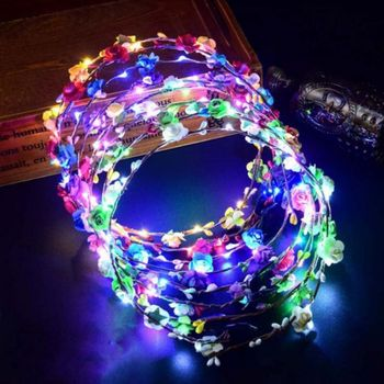 Beautifully LED Light Crown Flower Headband LED Light Up Hair Wreath Hairband Garlands Women Halloween Xmas Glowing Wreath party glowing wreath halloween crown flower headband women girls led light up hair wreath hairband garlands gift