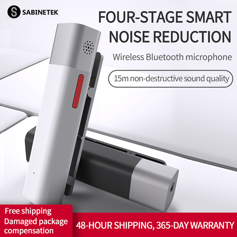 SABINETEK SmartMike+ Wireless Bluetooth Vlog Radio Microphone Real-time Mic Noise Reduction Video For Smartphone Camera Vlogger