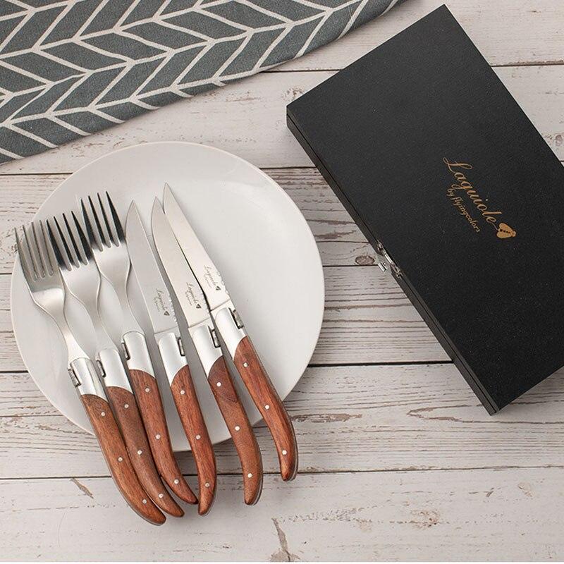 6pcs สแตนเลสสตีล Laguiole สไตล์สเต็กมีด Forks Rosewood Handle ญี่ปุ่นชุดช้อนส้อมคริสต์มาสอาหารเย็นของขวัญ 8.7''-ใน ชุดเครื่องใช้สำหรับอาหารค่ำ จาก บ้านและสวน บน   1
