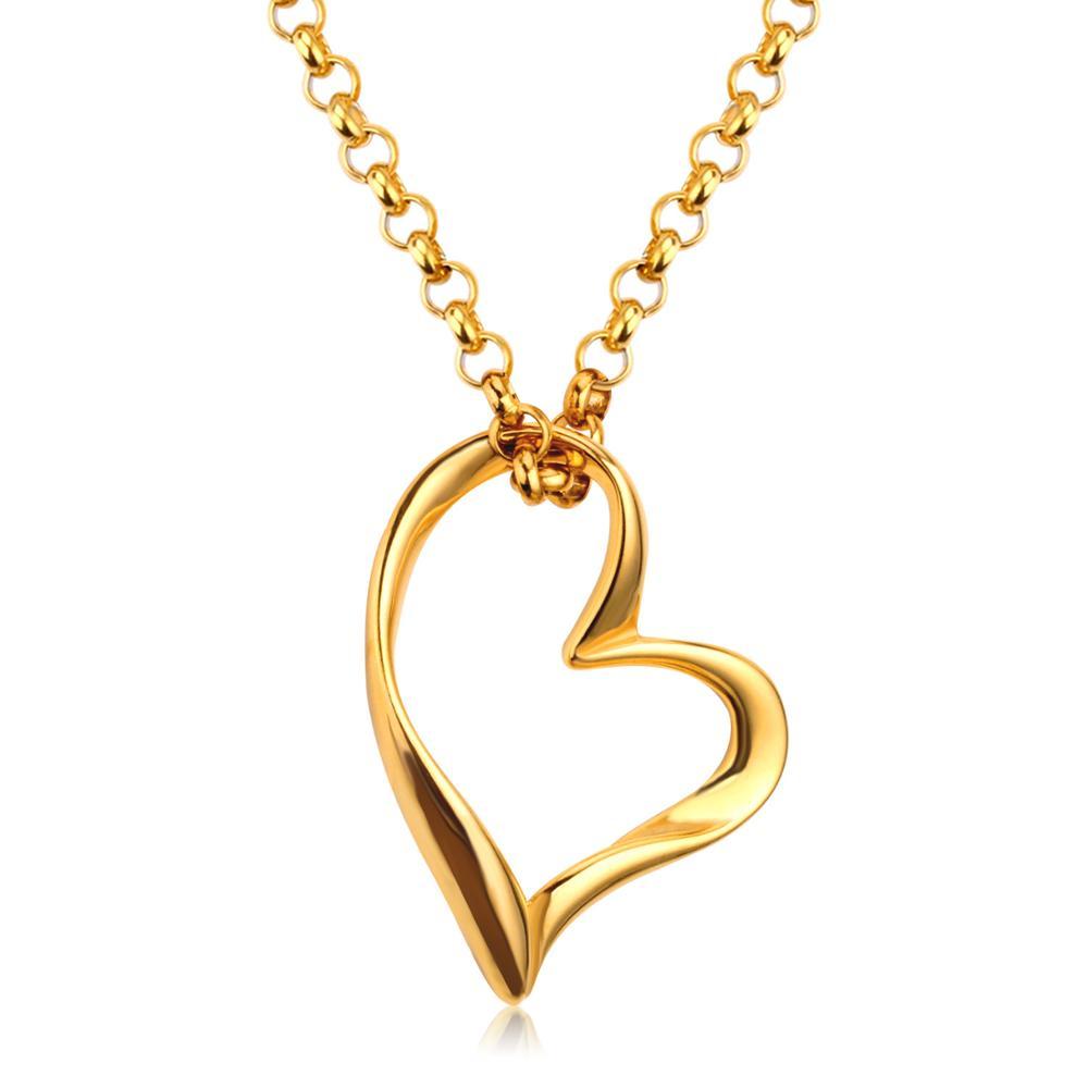 LUXUKISSKIDS- ի լավագույն ընկերը Վզնոցներ է հավաքում Չժանգոտվող պողպատից սրտի կախազարդ մանյակ Կանանց երեկույթով ոսկե / արծաթե երկար շղթաներով զարդեր