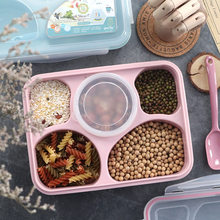 Japanese Style Creative Cute Young STUDENT'S Four Or Five Seperated Plastic Lunch Box Container Children Lunch Box Microwave Ove(China)