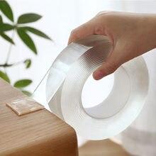1/2/3/5m dupla face fita nano reutilizável impermeável adesivo de parede não-marcação e lavável auto-adesivo fitas transparentes