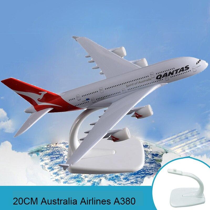 20cm Airplane Model Australian Aeronautical Airways Model Australia Airlines Qantas Airbus A380 Alloy Simulation Aircraft Model