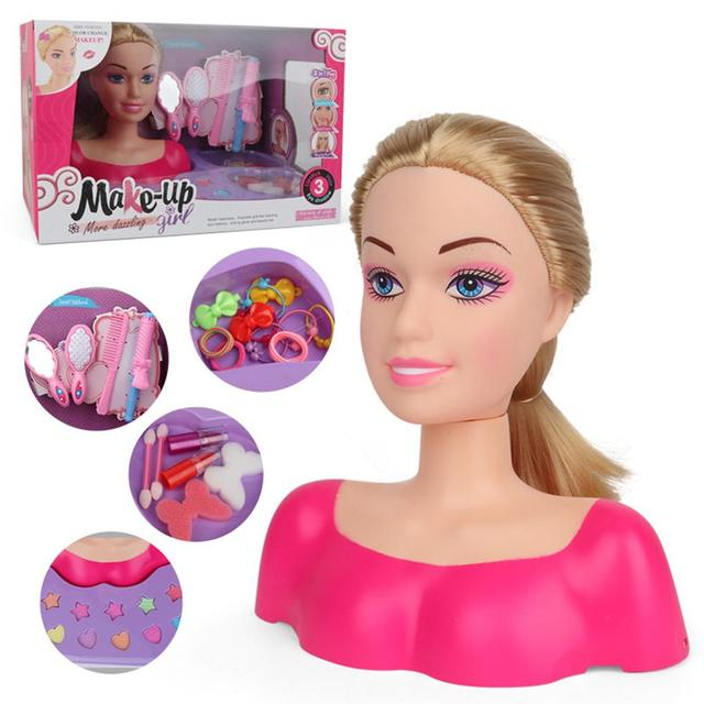New Fashion Princess Styling Head Doll Toy With Hair Clip Brush Beauty Makeup Accessories Pretend Play Toys For Girls 1