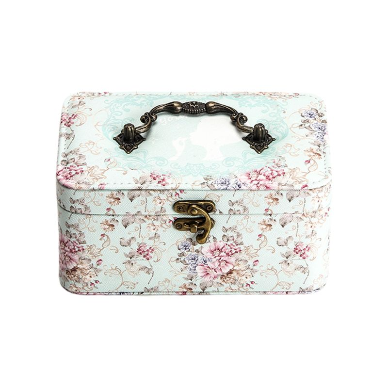 Two-layer Automatic Leather Jewelry Organizer Box with Lock Storage Box For Women Earring Ring Cosmetic Organizer Casket