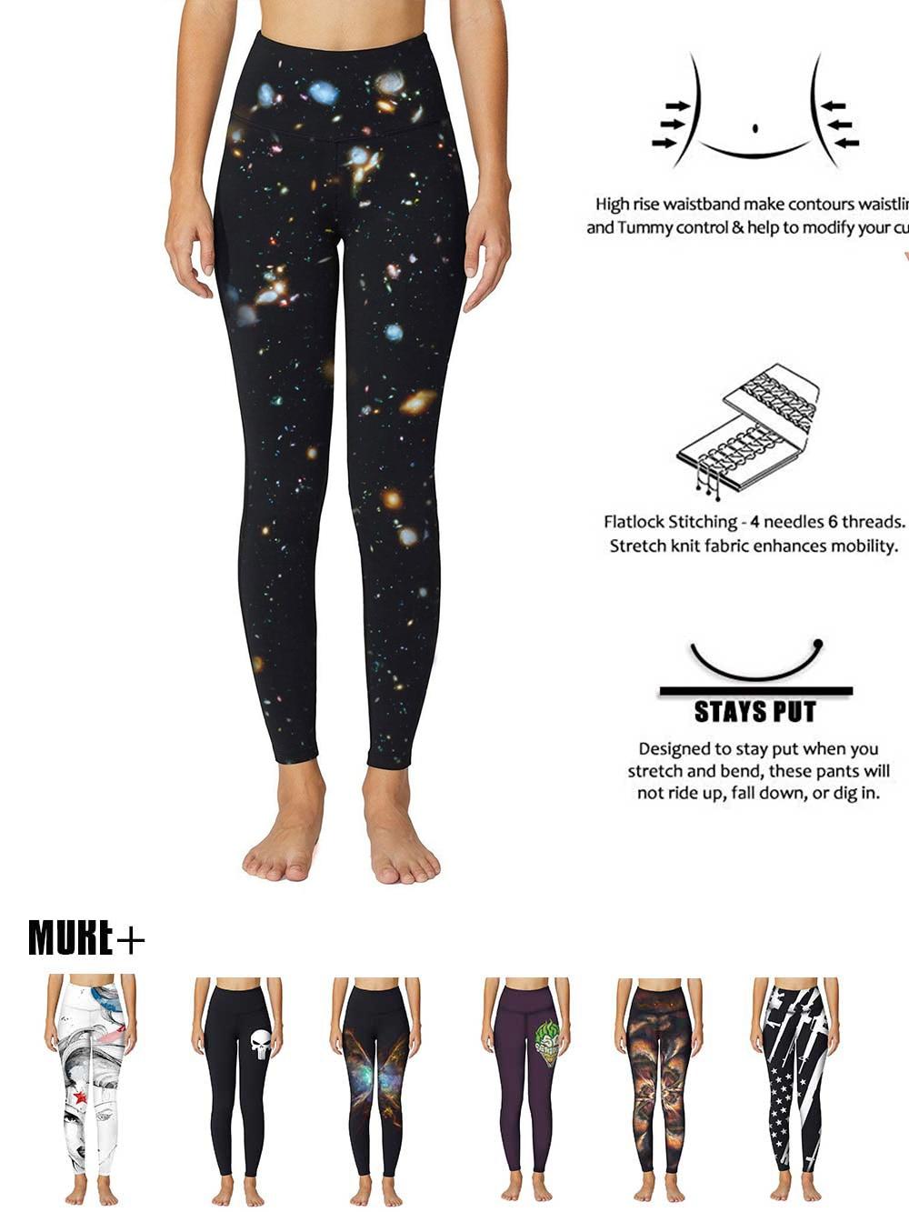 High Quality Universe Galaxies Women's Digital Printed Yoga Capris High Waist Workout Pants Moisture Wicking Running Leggings 3