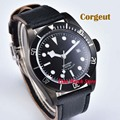 Corgeut 41 мм Miyota 8215 20ATM pvd автоматические мужские часы с сапфировым стеклом светящийся черный strile циферблат водонепроницаемый кожаный ремешок