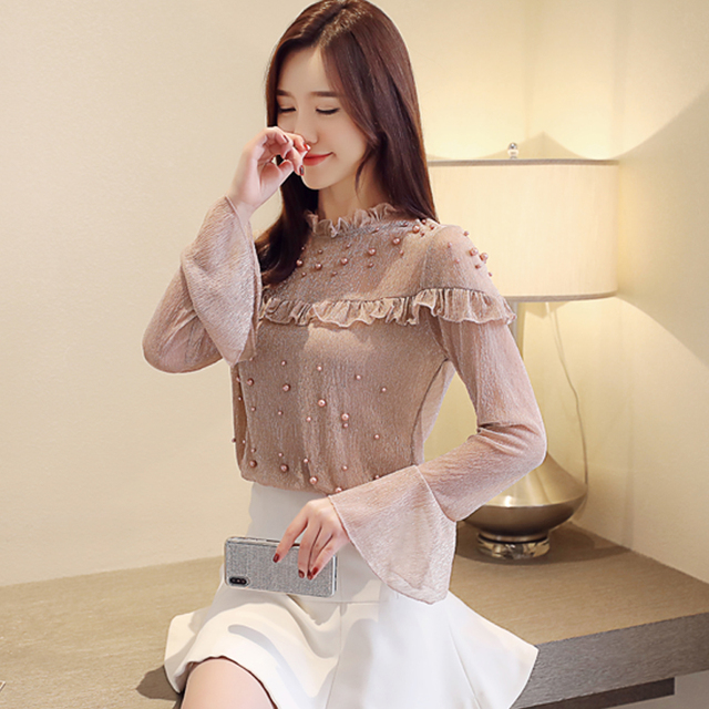 2021 spring elegant flare sleeve women's shirt blouse for women blusas womens tops and blouses chiffon shirts ladie's top 2