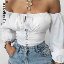 Cryptographic Lace Up Bodysuit Women Tops Off Shoulder White Sexy Backless Puff Sleeve Hooks Shirts Autumn Fashion Bodysuits