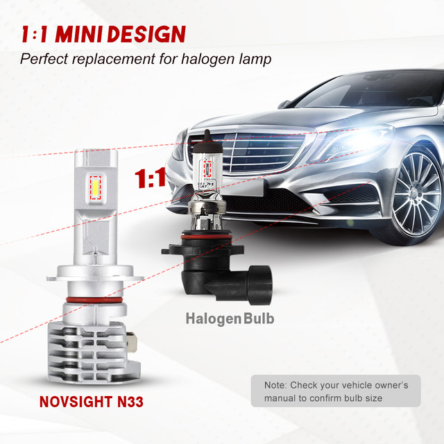 NOVSIGHT H4 LED H7 H11 H8 HB4 HB3 Auto Car Headlight Bulbs 50W 8000LM Car Styling 6000K led automotivo