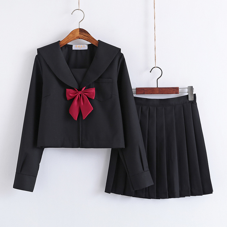 Black School Dresses Jk Uniforms Sailor Suit Anime Japanese School Uniform For Girls High School Students Pleated Skirt With Bow