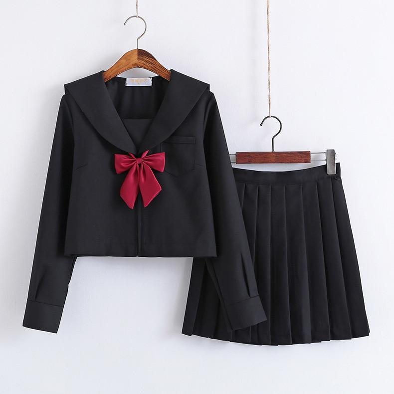 Black School Dresses Jk Uniforms Sailor Suit Anime Japanese School Uniform For Girls High School Students Pleated Skirt With Bow