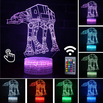 Star Wars Darth Vader Anime Figure Acrylic 3D Illusion LED Lamp Colourful NightLight Death Star Mask Yoda Model Toys Child Gift 37