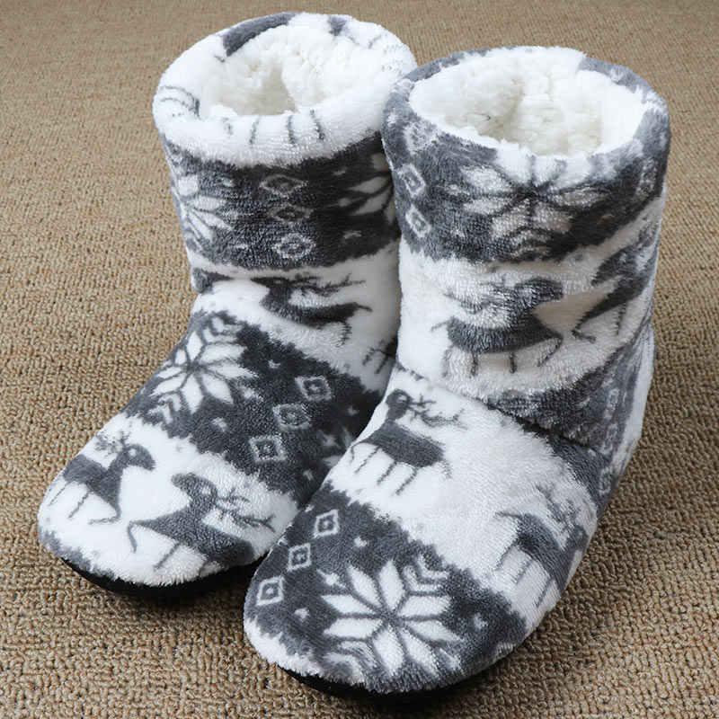 Bộ Lông Mùa Đông Dép Nữ Ngôi Nhà Ấm Áp Dép Giáng Sinh Trong Nhà Vớ Giày Cotton Nhà Sàn Giày Claquette Fourrure 2020