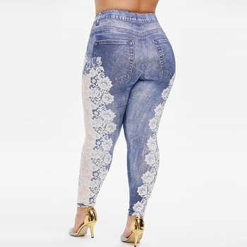 Undefined Womens Plus Size Imitation Cowboy Printing Elastic Waist Casual Leggings Pants mujer pantalones woman pants оверсайз image