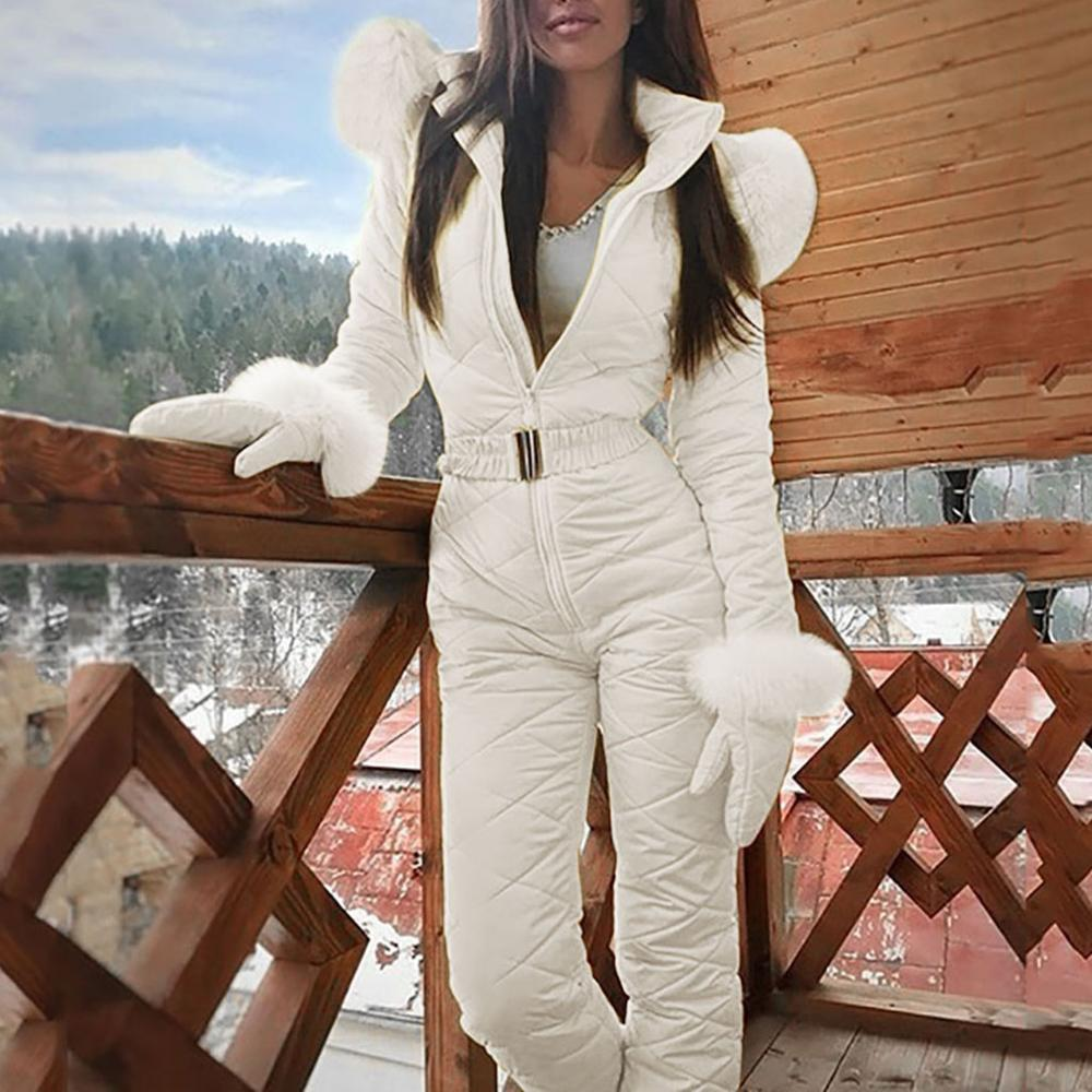 Fashion One Piece Ski Jumpsuit Casual Thick Winter Warm Woman's Snowboard Skisuit Outdoor Sports Skiing Pant Set Zipper Ski Suit