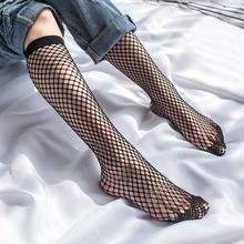 2020 New Fashion Women Sexy In The Tube Long Socks Transparent Nylon Elastic Mesh Fishnet Socks Black Hollow Stretch Hosiery cheap Fishnet Socks stockings Women Ladies Girls