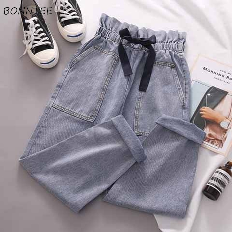 Jeans Women High Elastic Waist Pockets Bow Sweet Girls Ankle-length Trousers All-match Chic Harajuku Korean Style Fashion Casual