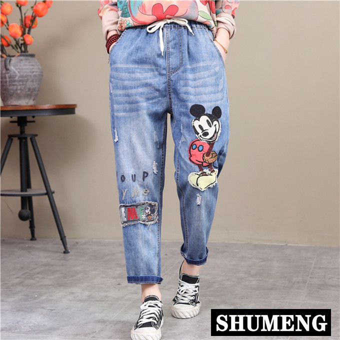 Women Jeans High Waist Loose Hole Harem Pants Korean Style Vintage Cartoon Patched Drawstring Ankle-length Pants 2020 Fashion