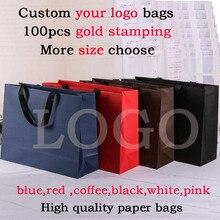 100 adet logo ile hediye keseleri yüksek kaliteli kağıt çanta özel logo çanta üzerinde kırmızı kağıt torbalar baskı logosu alışveriş çanta takı çantası