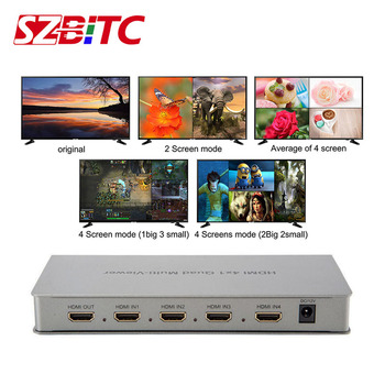 SZBITC HDMI Switcher 4x1 1080P HDMI Divider Switch 4 Port HDMI Quad Multiviewer Seamlesss Switching With Remote Control