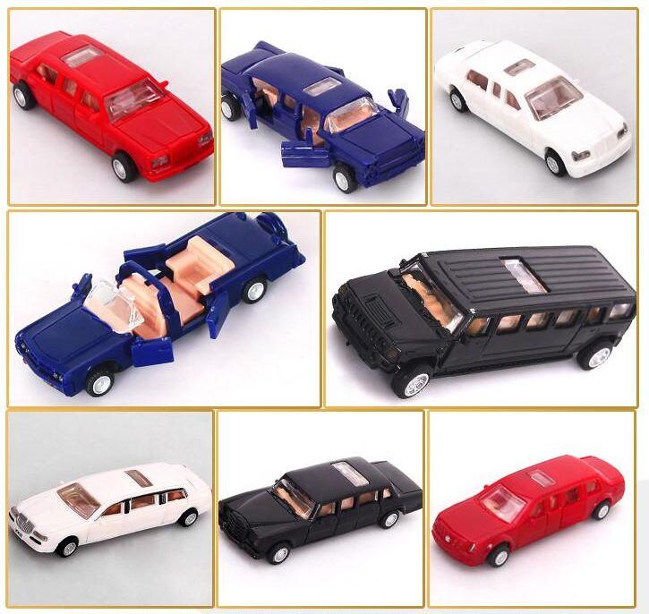 1pcs 7cm  4D Plastic Assembled Car Scale 1:87 Modern Cars Collection Puzzle Assembling Toys For Children