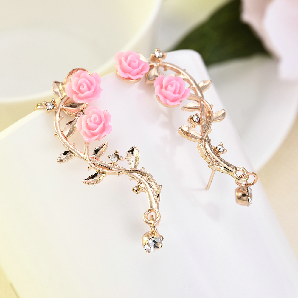 New Fashion Lady Gold Pink Rose Leaf Flower Ear Stud Cuff Earring Women Jewelry Pendientes Princesas Boucle D'oreille Cristal 4