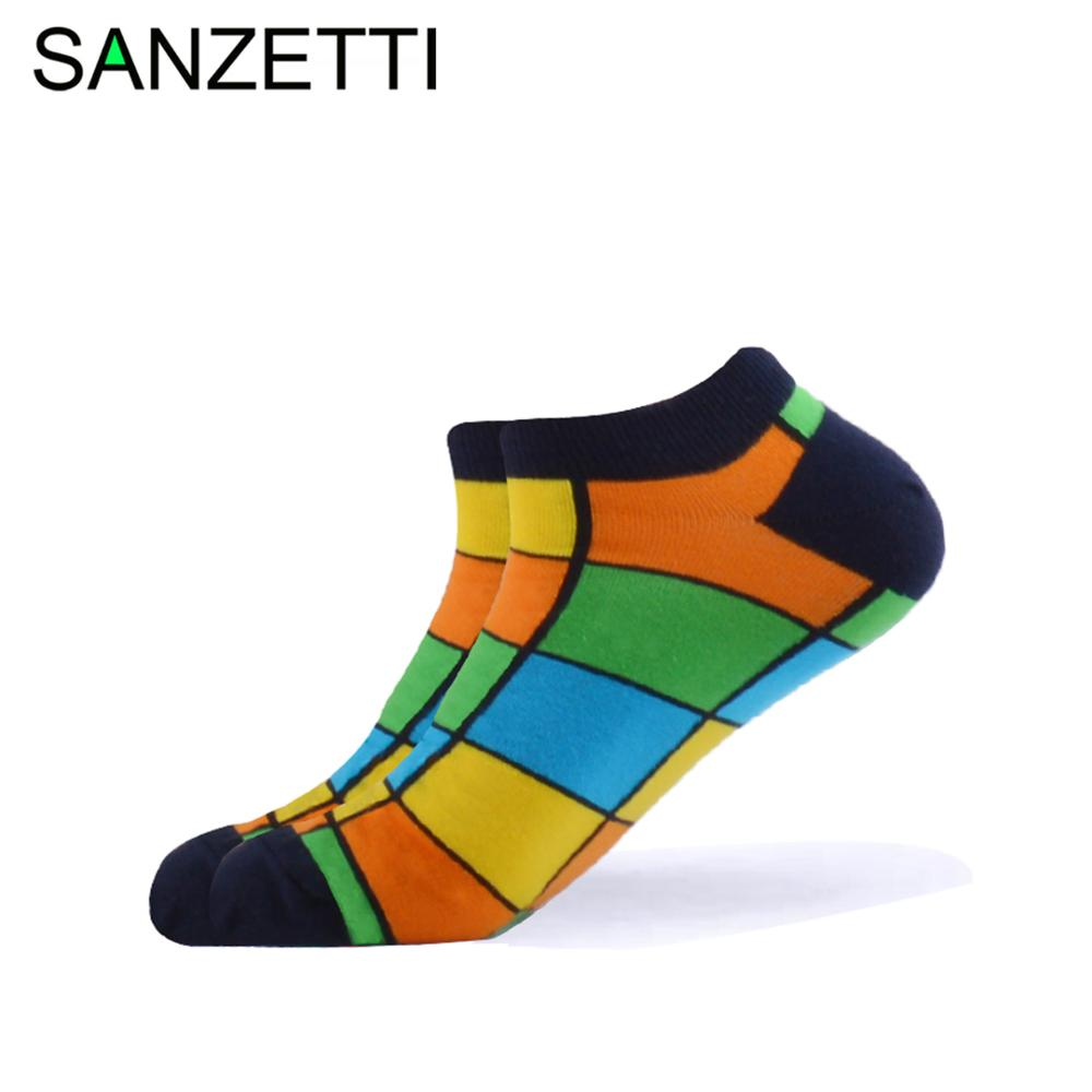 SANZETTI 1 Pair 2020 New Men's Summer Casual Ankle Socks Colorful Combed Cotton Socks Rectangle Pattern Dress Wedding Boat Socks