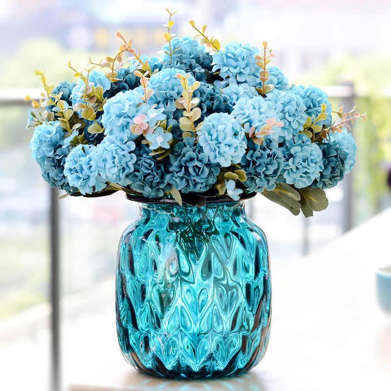 Decora งานแต่งงานลูกเบญจมาศประดิษฐ์ดอกไม้ 1PCS 10 buds DIY Potted PlantsDecoration ดอกไม้ปลอม