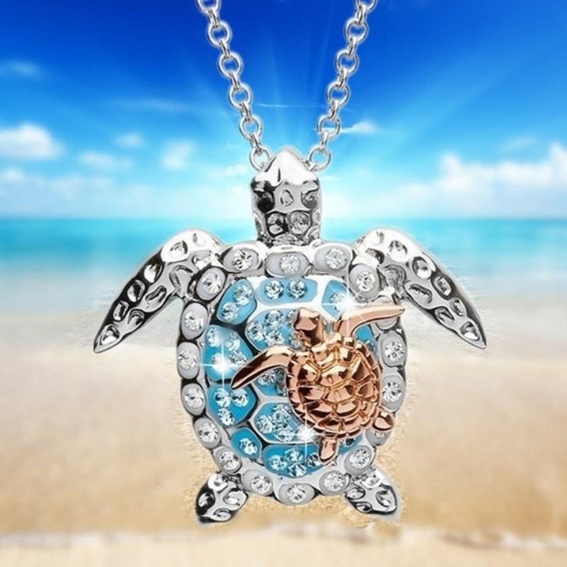 2020 ожерелье для женщин Циркон Шарм пляжное ожерелье с черепашкой s розовое золото уникальное маленькое ожерелье с черепашкой женское ювели...