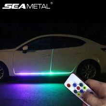 Araba LED 12V ışıkları kapı ışık evrensel esnek şerit su geçirmez ışık otomobiller kapı karşılama lambası uzaktan kumanda aksesuarları